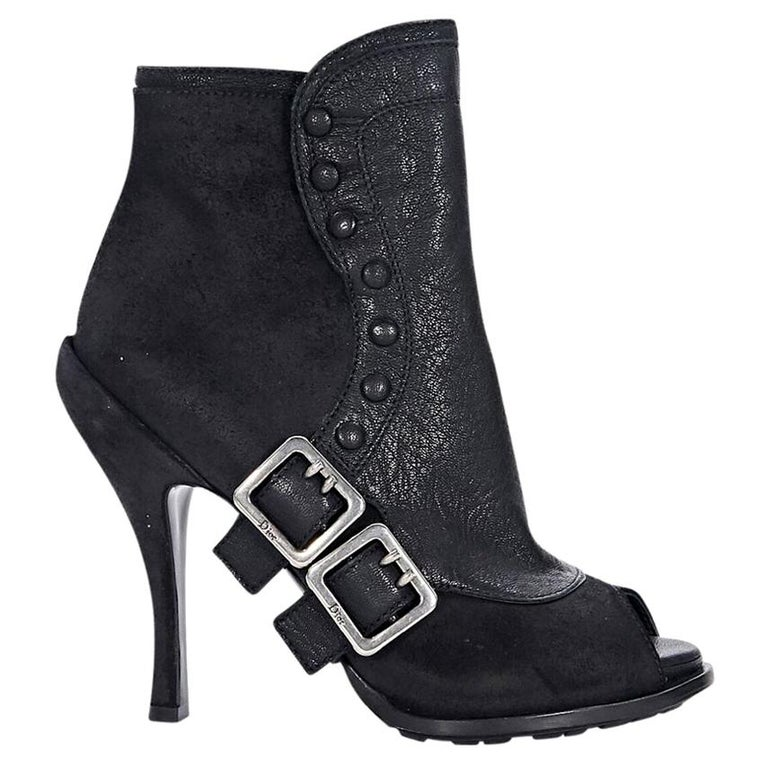 4ae816c7590 Black Christian Dior Leather Ankle Boots For Sale at 1stdibs