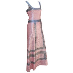 Pink and Silver Fully Sequin Décolleté Maxi Tank Evening Dress