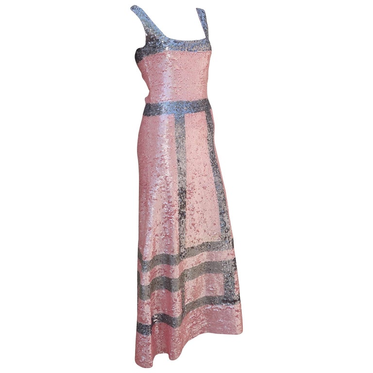 Pink and Silver Fully Sequin Décolleté Maxi Tank Evening Dress For Sale