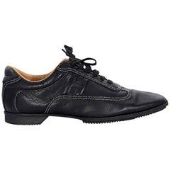 Black Hermes Leather Sneakers
