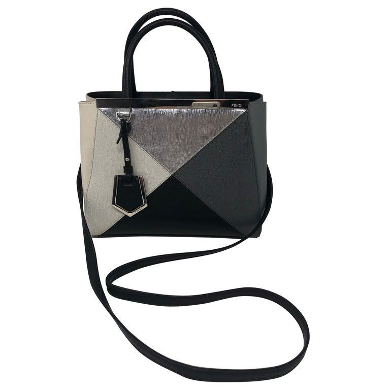 Fendi 2Jour Petite Black Silver Gray Leather Satchel