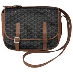Goyard Belevedere Black/Tan Canvas Cross Body Bag