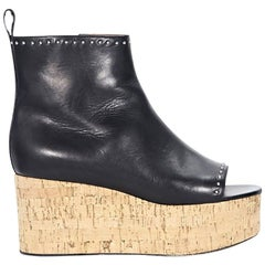 Black Givenchy Studded Leather Wedge Ankle Boots