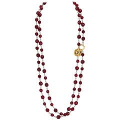 1970's Chanel Red Gripoix Extra Long Sautoir Necklace