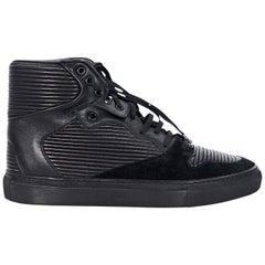 Black Balenciaga Ribbed Leather High Tops