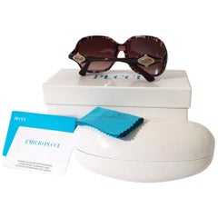 New Emilio Pucci Brown Logo Sunglasses With Case & Box