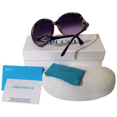 New Emilio Pucci Purple Logo Sunglasses  With Case & Box