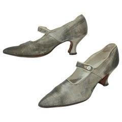 Art Deco 1920's Silver Metallic Flapper Shoes Sz 7.5-8N