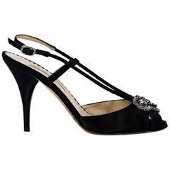 Black Oscar de la Renta Embellished Evening Sandals