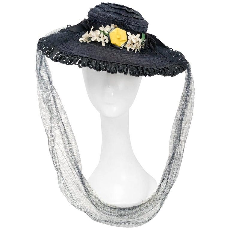 Navy Woven Raffia Cartwheel Hat, 1940s
