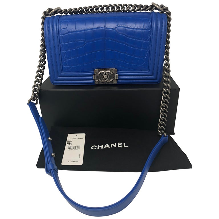 cae1d5c4869b18 Chanel Blue Alligator Boy Bag at 1stdibs