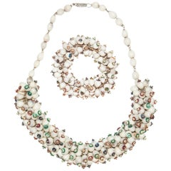1930s Christmas Beaded Seed and Sequin Necklace and Bracelet