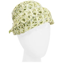 Balenciaga Reproduction Peach Basket Hat in a Subtle Green, 1950s