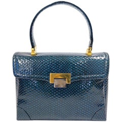 1960s Koret Blue Embossed Reptile Kelly Bag