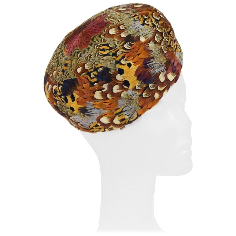 Urbi et Orbi Pheasant Feather Pillbox Hat, 1960s