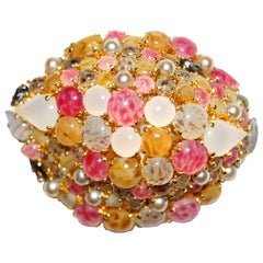 Christian Dior Glass Cabochon Cluster Brooch, 1963