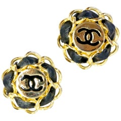 Iconic 1980s Chanel Logo Gold and Leather Clip Earrings