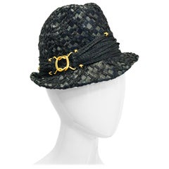 Early 1980s Yves Saint Laurent Woven Trilby Sun Hat