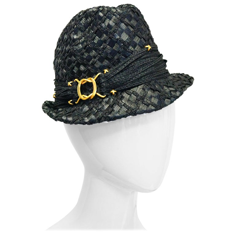 Early 1980s Yves Saint Laurent Woven Trilby Sun Hat For Sale at 1stdibs f1ad71fc10ad