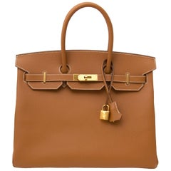 Hermès Gold Epsom GHW Birkin 35 Bag