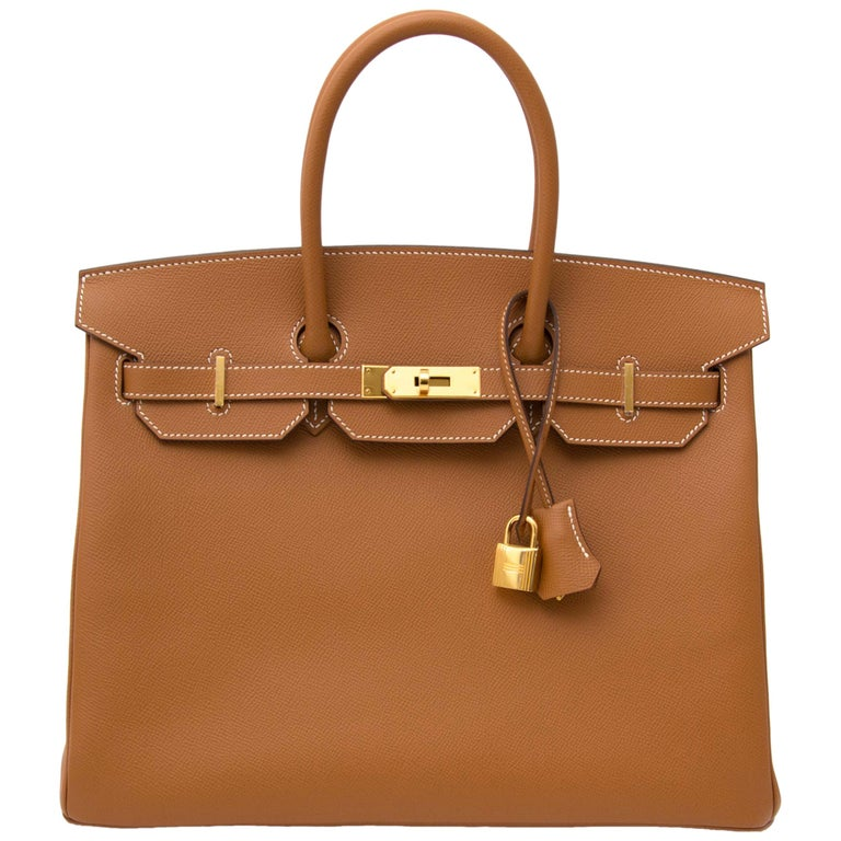 Hermès Gold Epsom GHW Birkin 35 Bag  For Sale