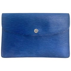 Vintage Louis Vuitton blue epi envelope style clutch bag with gold tone LV motif