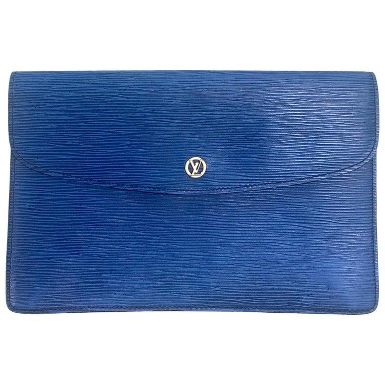 Vintage Louis Vuitton blue epi envelope style clutch bag with gold tone LV motif