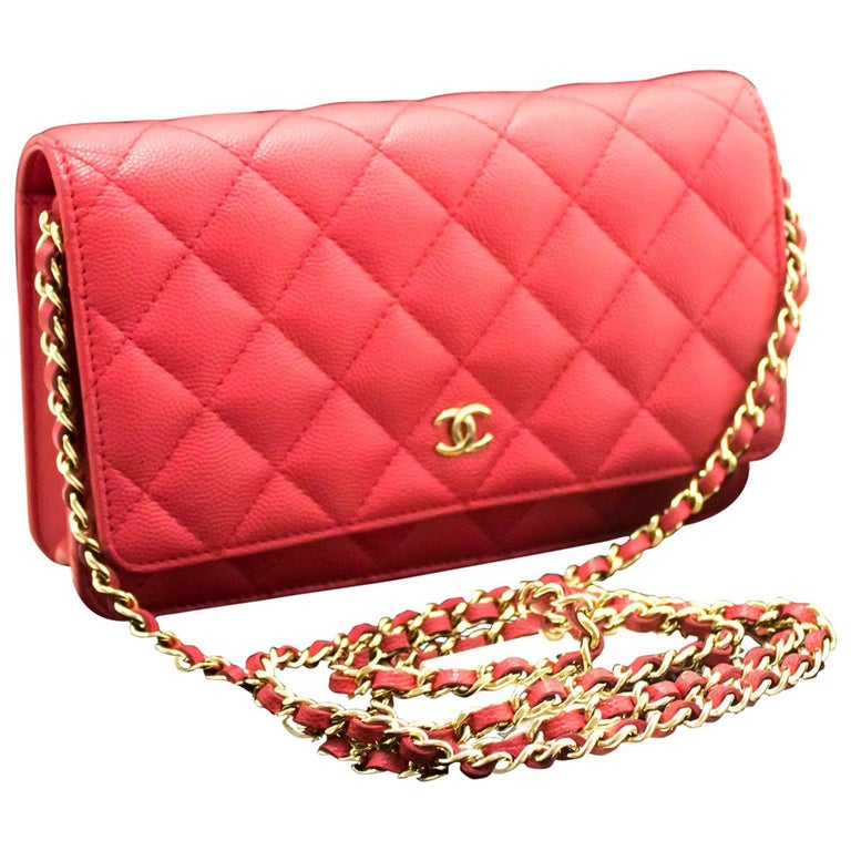4cffa615c3d3 Chanel Caviar Wallet On Chain WOC Pink Crossbody Shoulder Bag For Sale