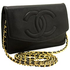 Chanel Black Caviar Wallet On Chain WOC Crossbody Shoulder Bag