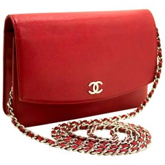 Chanel Red Caviar Wallet On Chain WOC Crossbody Shoulder Bag