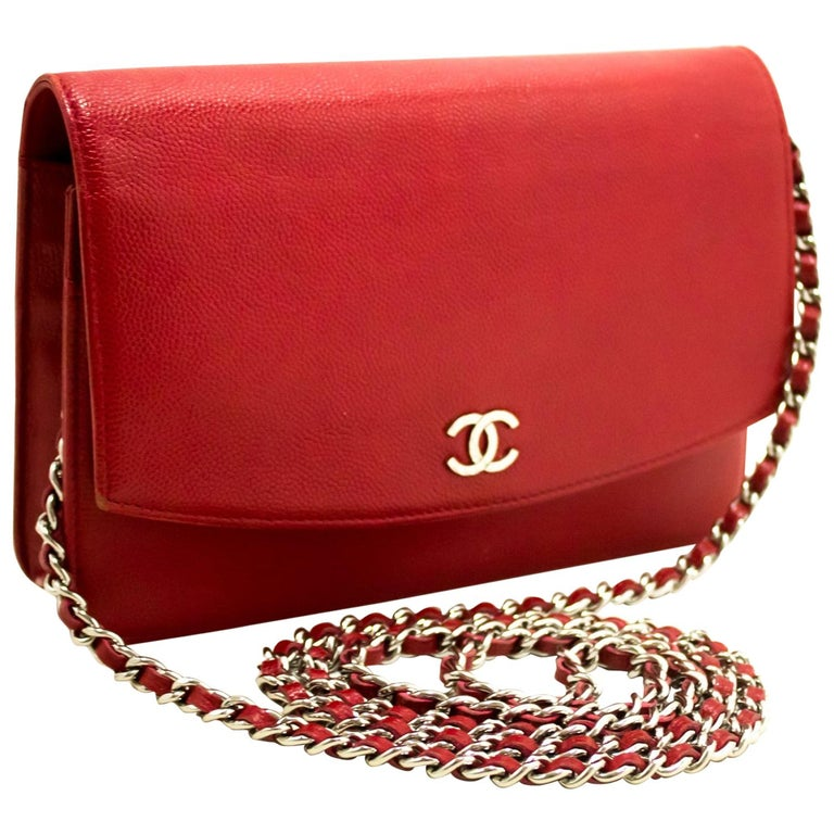 6c902ae41ac5 Chanel Red Caviar Wallet On Chain WOC Crossbody Shoulder Bag For Sale
