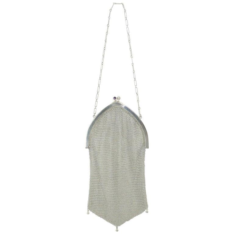 Art Deco 1920's Whiting & Davis Silver Mesh Chain Mail Flapper Handbag For Sale