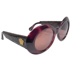 New Vintage Gianni Versace 418 P Oval Tortoise Sunglasses 1990's Made in Italy