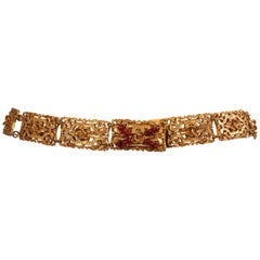 Chanel Gold Toned Belt with Red Gripoix Beads on Clasp