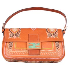 Fendi Baguette with Colorful Embroidery on Leather