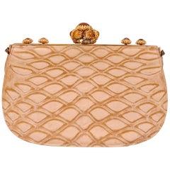 Koret Made in France Cabochon Jewel Topped Beige Skin Evening Bag