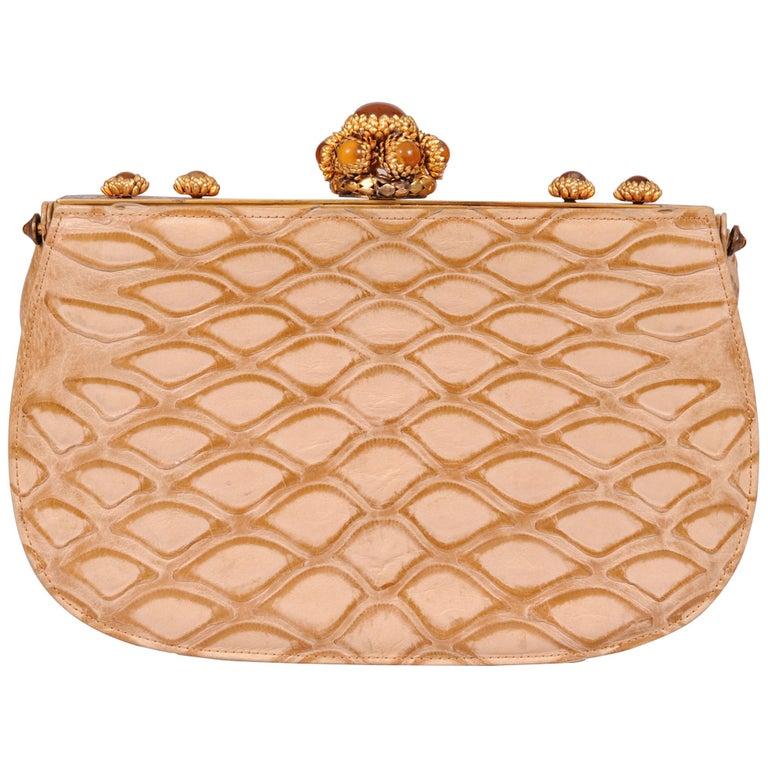 Koret Made in France Cabochon Jewel Topped Beige Skin Evening Bag  For Sale