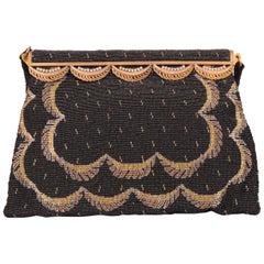 French Black Micro Beaded Evening Bag with Gold and Silver Swags