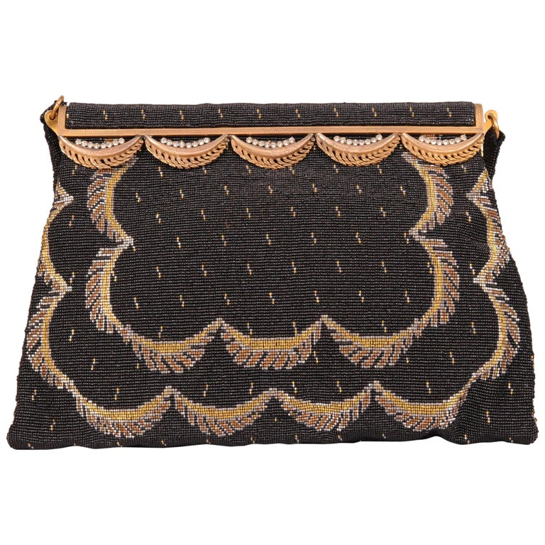 French Black Micro Beaded Evening Bag with Gold and Silver Swags For Sale