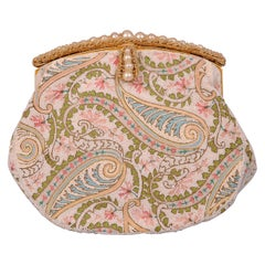 Josef Hand Beaded and Pastel Embroidered French Evening Bag circa 1960