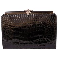 Koret Black Crocodile Handbag Jeweled Enamel Frame Made in France Never Used