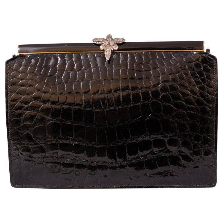 Koret Black Crocodile Handbag Jeweled Enamel Frame Made in France Never Used For Sale