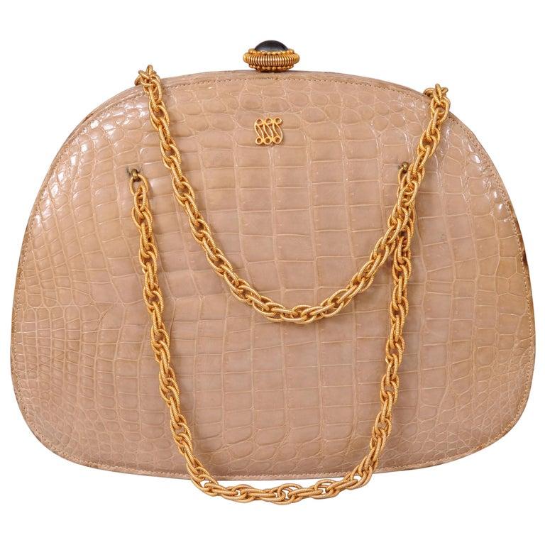 Lucille de Paris Pale Beige Crocodile Bag