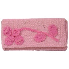 Hand Made Pink Beaded Clutch with a Bubblegum Pink Beaded Flower Applique