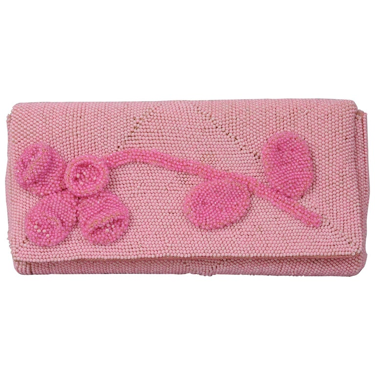 Hand Made Pink Beaded Clutch with a Bubblegum Pink Beaded Flower Applique For Sale
