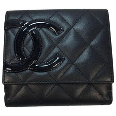 CHANEL Cambon Wallet in Black Quilted Lamb Leather