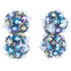 Handbeaded sea coloured crystal 'double ball' earrings, Coppola e Toppo, c1967