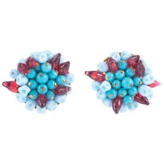 Turquoise and ruby poured glass 'cluster earrings, Histoire de Verre, 2005