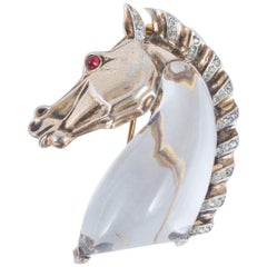 Silver gilt, clear paste, lucite 'Horse Head' jellybelly brooch, Trifari, 1940s