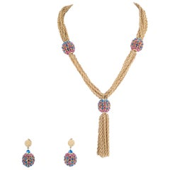Gilt chain and coloured pastes 'sphere' necklace and earrings, Trifari, 1960s.